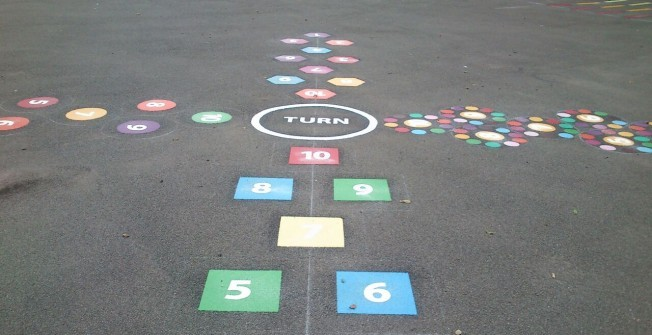 Hopscotch Playground Markings in Arclid Green