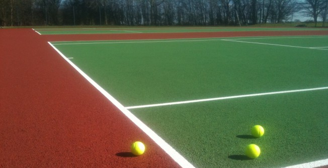School's Tennis Line Marking in Aberllefenni
